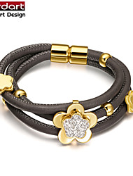 Grey Sheepskin Rope Bangle with IP Gold 316L Stainless Steel Flower Bead with CZ Stones Set Magnet Buckle for Women