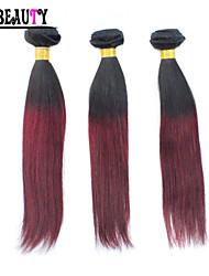 "3Pcs/Lot 10""-26"" Ombre Human Hair Extensions T1B/Burgundy Two Tone Color malaysian Virgin Hair Straight Hair Bundles"