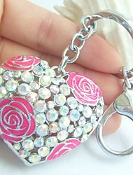 Couple Keychain Rings Love Heart Handbags Pendant With Rhinestone Crystals
