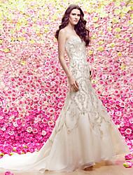 Lan Ting Trumpet/Mermaid Wedding Dress Court Train Strapless Organza