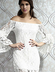 Women's Spring Sexy Bateau Ruffle Lace Dress