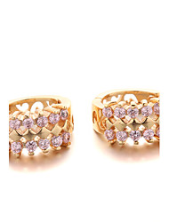 Hoop Earrings Zircon Cubic Zirconia Gold Plated Jewelry For 2pcs