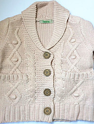 Girl's  sweater and round collar pink Single-breasted wear
