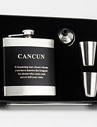 Gift Groomsman Personalized 4 Pieces Stainless Steel 6-oz Flask in Gift Box
