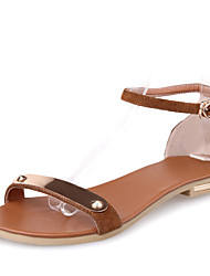 Women's Shoes Leather Flat Heel Slingback Sandals Dress