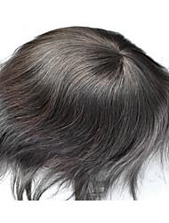 dentelle suisse pleine brun foncé 2 # mens perruque 100% cheveux remplacement du système de cheveux humains premium taille de base