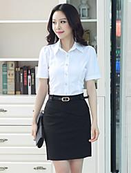 Women's Solid White Shirt , Work V Neck Short Sleeve