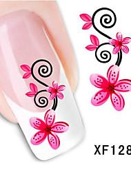 5Pcs Beautiful Red Flowers Pattern 3D Nail Stickers