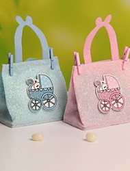 Nonwoven Fabric Cute Baby Carriage Decoration Candy Favor Bags Portable Favor Bags  Set of 12