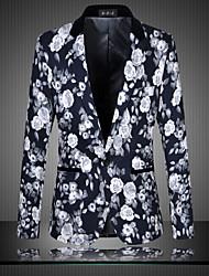 manga longa dos homens regulares blazer, algodão / poliéster tamanho de impressão m 6XL