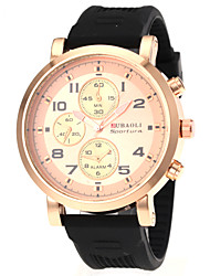 Men's Military Style Gold Case Rubber Band Quartz Wrist Watch Cool Watch Unique Watch
