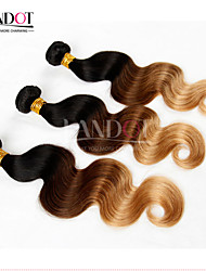 3 Pcs Lot 14-28 Ombre Mongolian Virgin Hair Extensions Body Wave Three Tone Black Brown Blonde 1B/4/27# Human Hair Weave