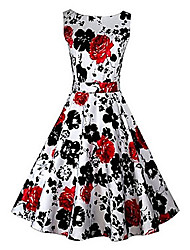 VICONE Women's Vintage Micro Elastic Sleeveless Maxi Printing Flower Dress