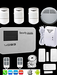 Android IOS GSM Home Alarm System SMS Call Voice Security With Wireless Smoke Gas Detector