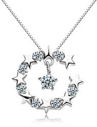 jazlyn® donna platinato Argento 925 luna stelle zirconi pendente collana di fascino per il regalo