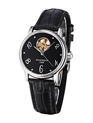GUANQIN mujeres reloj venda de reloj de cuero mecánico auto de gama alta con el corazón del melocotón de grabado hueco