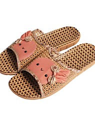 Women's Shoes Bamboo Low Heel Comfort/Open Toe Slippers Casual Green/Beige/Coral