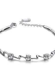 Jazlyn® Authentic Platinum Plated 925 Sterling Silver Woman Water Weave Cubic Zirconia Link Bracelet
