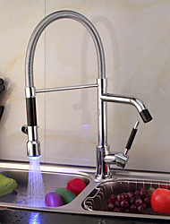 Contemporary Single Handle Chrome LED Color Kitchen Faucet