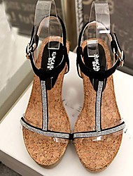 Women's Shoes Synthetic/Glitter Wedge Heel Wedges/Platform Sandals Wedding/Party & Evening/Dress Black/Silver