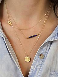 Women's Beads Sequins Multilayer Tassel Short  Necklace