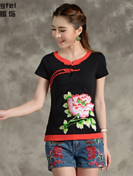 Women's Patchwork Red/White/Black T-shirt , Round Neck Short Sleeve Button/Embroidery