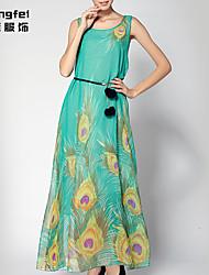 Women's Print Green Dress , Casual/Print Sleeveless