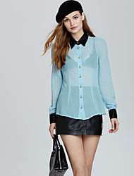 Women's American Apparel See-Though Patchwork Chiffon Sexy Shirt
