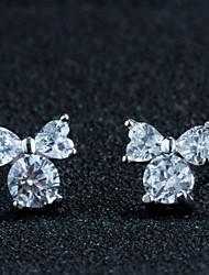 boucles d'oreilles en argent sterling arc boucles d'oreilles brillent joli mode coréen
