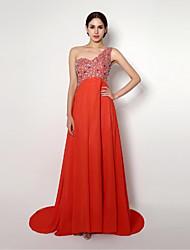 Formal Evening Dress - Ruby A-line / Sheath/Column One Shoulder Sweep/Brush Train Chiffon