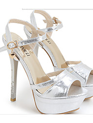 Women's Shoes Faux Leather Stiletto Heel Heels Sandals Dress/Casual Silver/Gold