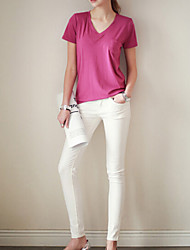 Women's Casual/Daily Simple Summer Set,Solid V Neck ½ Length Sleeve Pink Cotton Medium