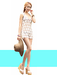 Women's Sexy V-Neck Sleeveless Hollow Out Crochet Beach Loose Mini Cover-up Swimwear