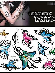 bm colorida mariposa tatuaje temporal clásico para hombre, mujer