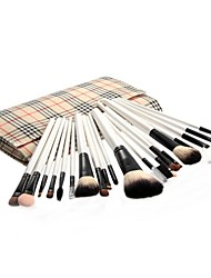2015 New 20 PCS Cosmetic Accessories Professional Makeup Brushes Set with Beige Plaid Pouch Bag Case