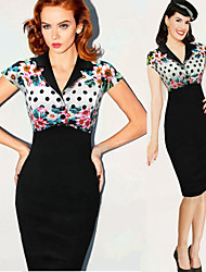 Luoluo Women's Print Tailored Collar Short Sleeve Dresses (Polyester)