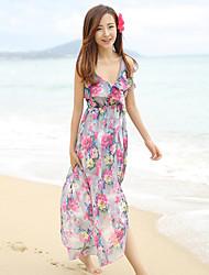 Women's Beach/Casual/Print/Maxi Elegent Sleeveless Stepped Hem Maxi Slip Sun Dress (Chiffon)