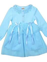 Pink/Blue Kid Girl's Fahion Spring/Fall Outfit Causal Long Sleeve Dress with Ruffle Mesh Skirt for 2-7 Years Clothing