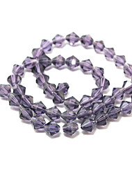 Beadia 100PCS Glass Facetted Crystal Beads 6mm Diamond Bicone Shape Purple Color DIY Spacer Loose Beads