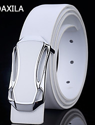 Unisex Party/Work/Casual Calfskin Waist Belt men's leather belt leather belt buckle width 3.3cm white black