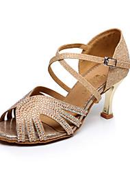 Zapatos de baile ( Azul/Oro ) - Danza latina/Salsa - No Personalizable - Tacón Luis XV