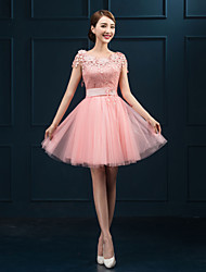 Homecoming Cocktail Party Dress Ball Gown Jewel Short/Mini Lace