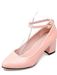 Chaussures Femme - Habillé - Noir / Rose / Violet / Blanc / Beige - Gros Talon - Talons / Bout Pointu - Talons - Cuir Verni