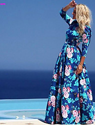 FOREVER LOVE®Women's New Fashion Casual Sexy Medium Long Sleeve Flower Print Maxi Beach Dress