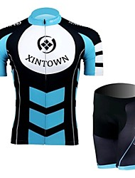 The Leaders On A Blue Short Sleeved Jersey Suit, Moisture Cycling Wear, Motor Function Material
