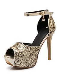Women's Shoes Synthetic/Glitter Stiletto Heel Heels/Peep Toe Sandals Wedding/Outdoor/Party & Evening Blue/Gold