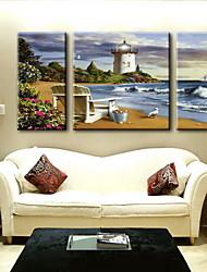 pintura a óleo decoração paisagem abstrata mão telas pintadas com esticada enquadrado - conjunto de 3