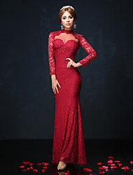 Formal Evening Dress Trumpet / Mermaid High Neck Floor-length Lace / Charmeuse with Beading / Lace