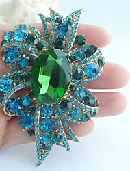 Women Accessories Gold-tone Turquoise Green Rhinestone Crystal Flower Brooch Art Deco Crystal Brooch