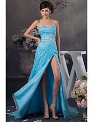 Vestido - Azul de céu claro Festa Formal Linha-A Curação Longo Cetim